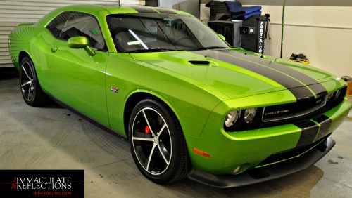 This Dodge Challenger 392 turns heads with power and looks after ceramic coating detail services by Immaculate Reflections.