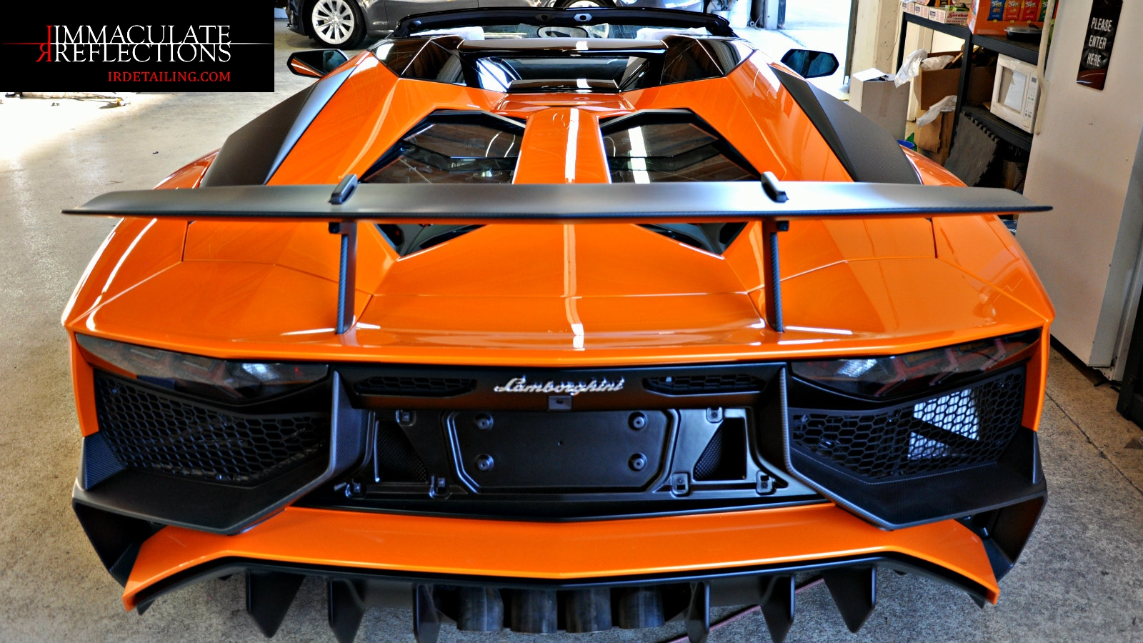This Lamborghini Aventador SV has super high gloss from a Paint Correction Detail by Immaculate Reflections, San Francisco Bay Ca.