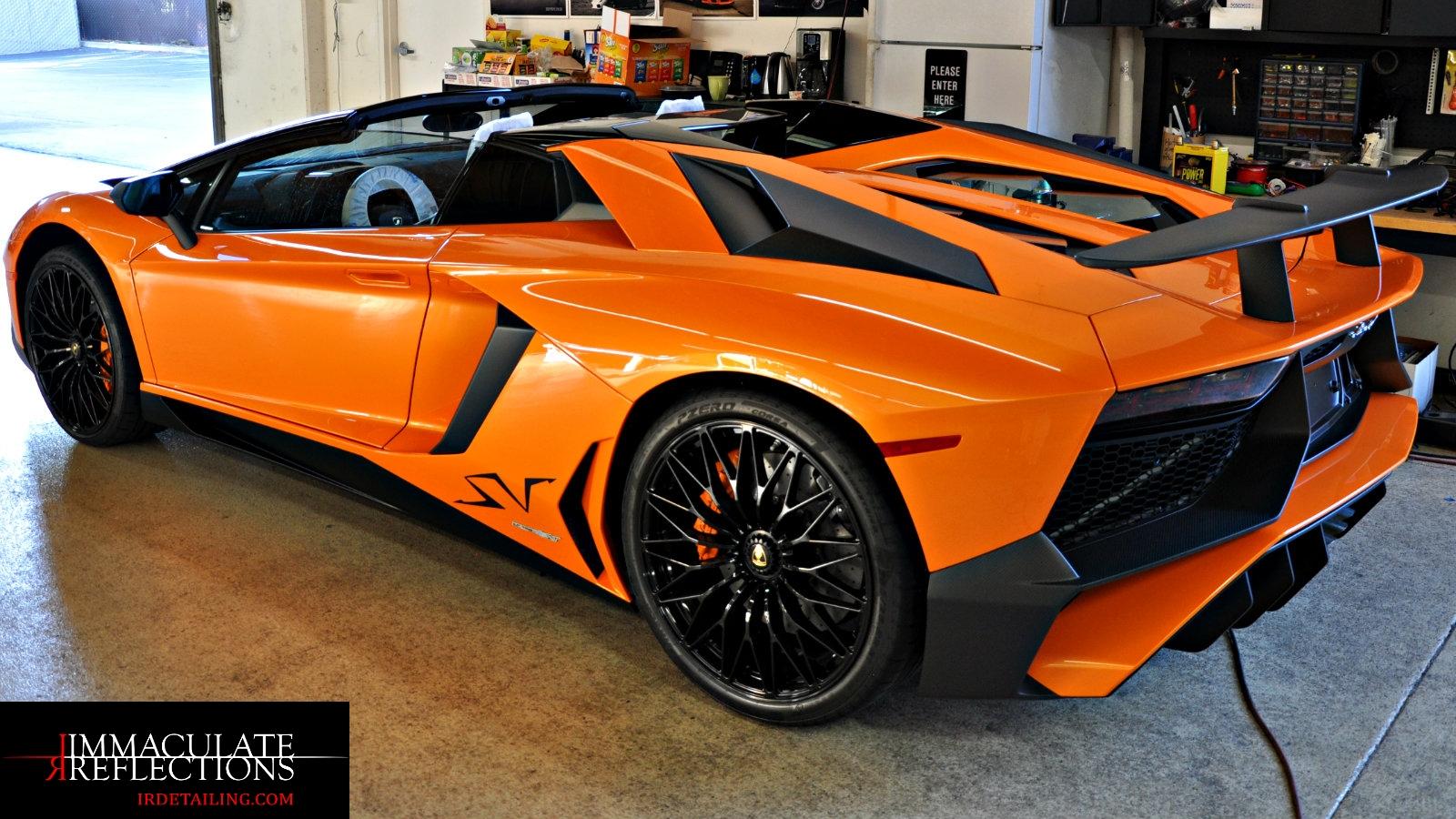 The Ceramic Nano Coating really makes the paint pop on this Lamborghini Aventador Super Veloce.
