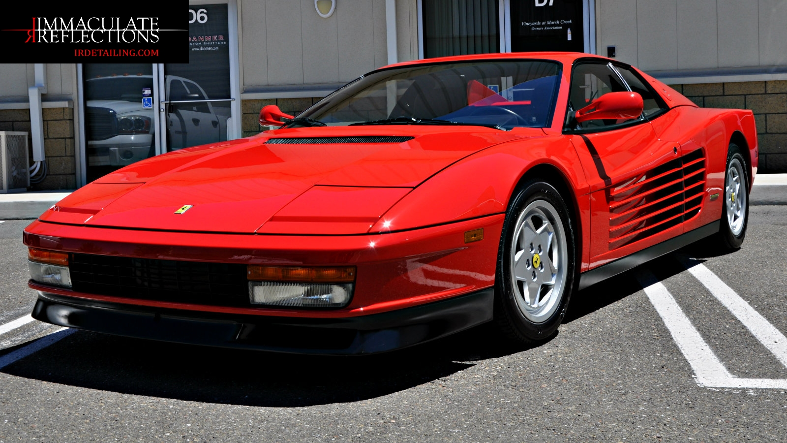 This Ferrari Testarossa has a superior shine from Immaculate Reflecions in Brentwood, Ca.