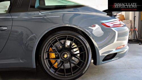 Porsche Targa GTS is blindingly sharp after paint correction and ceramic coating including center lock wheels off by S.F. East Bay Immaculate Reflections.