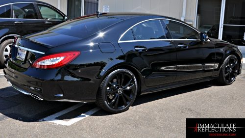 Deep black reflective gloss was the goal on this Mercedes CLS400 after paint correction & CQuartz Professional Nano Coating by Immaculate Reflections, Brentwood, Ca.