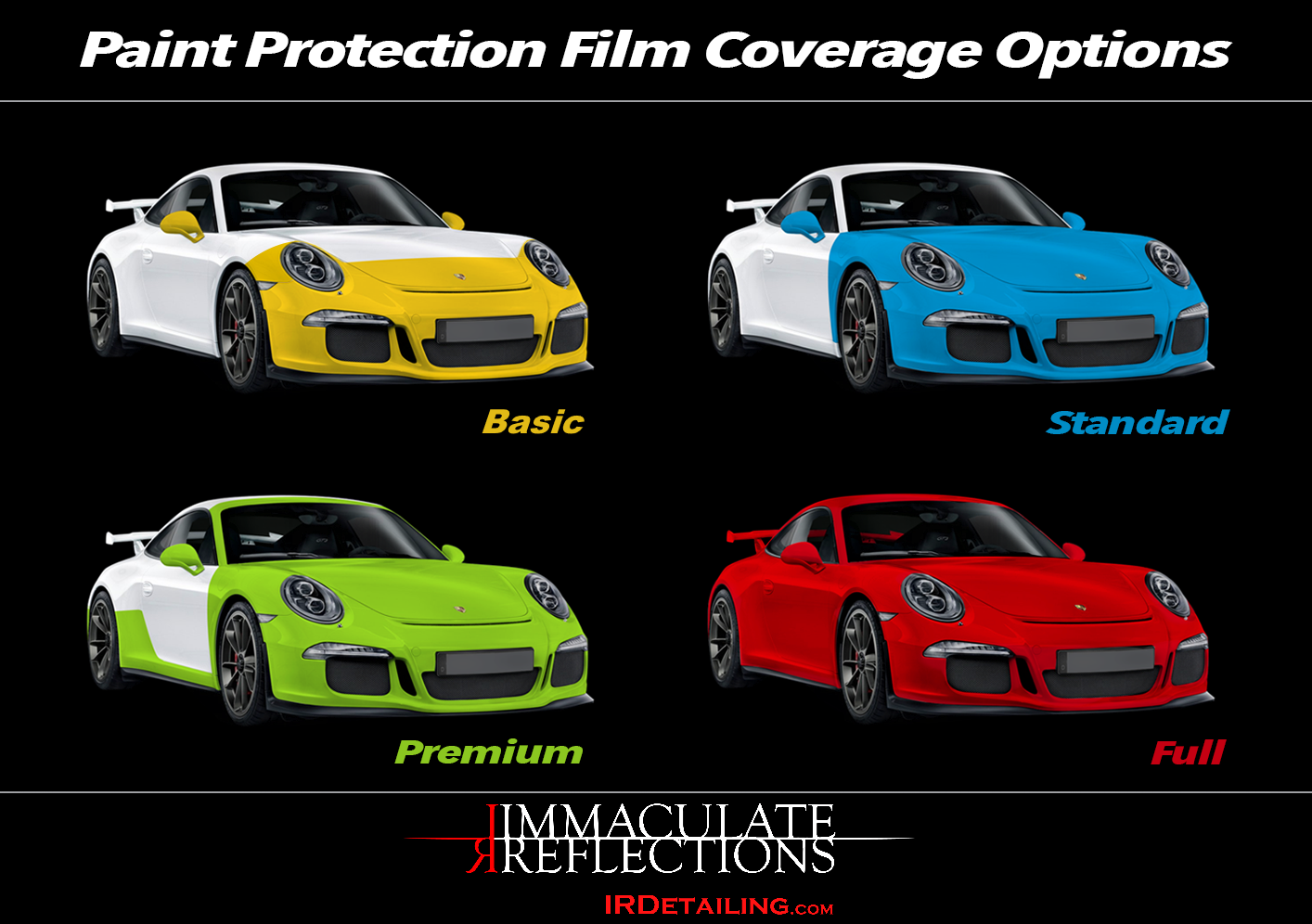 Immaculate Reflections Auto Detailing offers many Paint Protection Film (PPF or Clear Bra) options to protect your vehicle from road impacts.